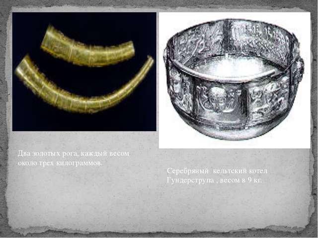 Два золотых рога, каждый весом около трех килограммов. Серебряный кельтский к...