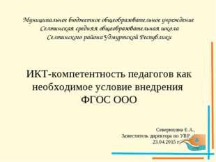 Муниципальное бюджетное общеобразовательное учреждение Селтинская средняя общ