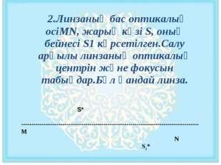 2.Линзаның бас оптикалық осіМN, жарық көзі S, оның бейнесі S1 көрсетілген.Са