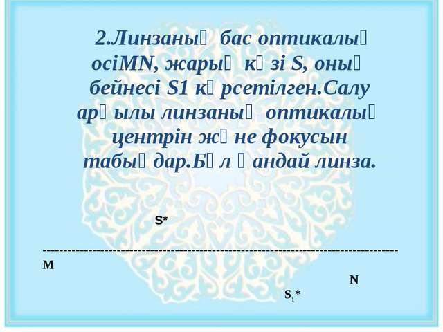2.Линзаның бас оптикалық осіМN, жарық көзі S, оның бейнесі S1 көрсетілген.Са...