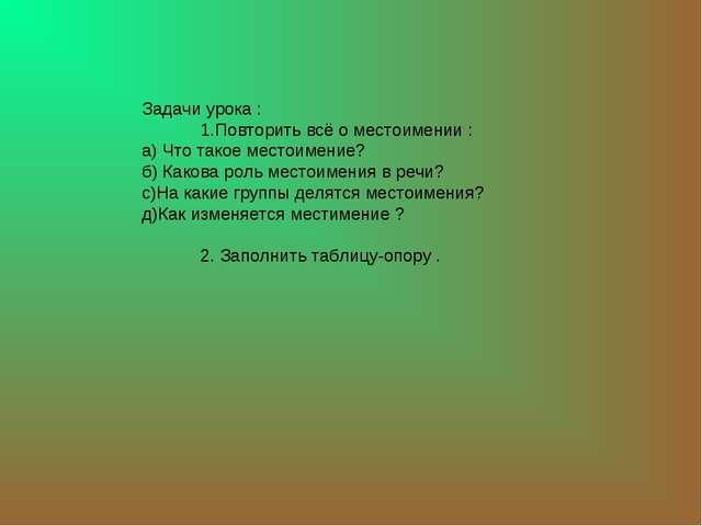 Задачи урока : 1.Повторить всё о местоимении : а) Что такое местоимение? б) К...