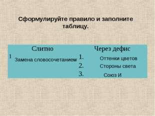 Сформулируйте правило и заполните таблицу. Оттенки цветов Стороны света Союз