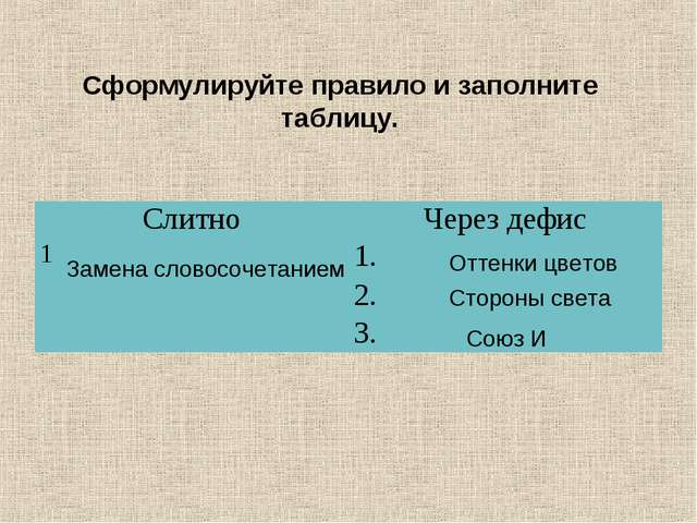 Сформулируйте правило и заполните таблицу. Оттенки цветов Стороны света Союз...