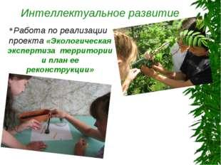 Интеллектуальное развитие Работа по реализации проекта «Экологическая эксперт