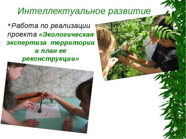 Интеллектуальное развитие Работа по реализации проекта «Экологическая эксперт...
