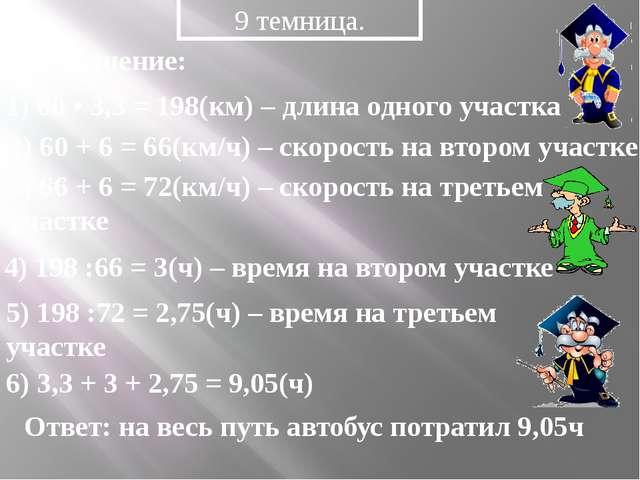 9 темница. Решение: 1) 60 • 3,3 = 198(км) – длина одного участка 2) 60 + 6 =...