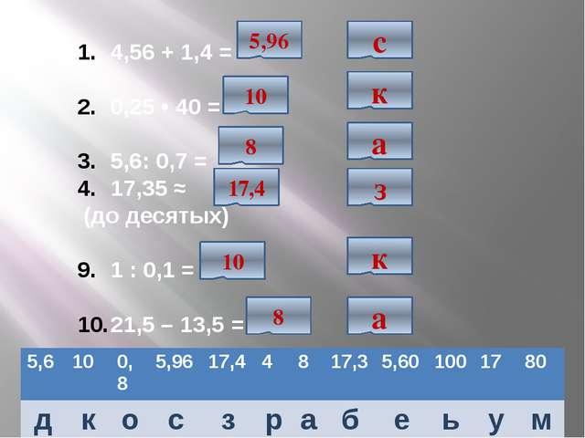 4,56 + 1,4 = 0,25 • 40 = 5,6: 0,7 = 17,35 ≈ (до десятых) 1 : 0,1 = 21,5 – 13...