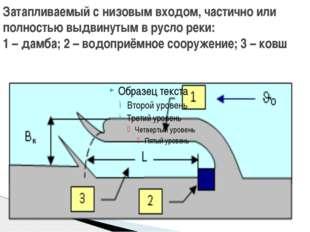 Затапливаемый с низовым входом, частично или полностью выдвинутым в русло рек