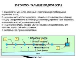 23.ГОРИЗОНТАЛЬНЫЕ ВОДОЗАБОРЫ 1 - водозахватное устройство, с помощью которого