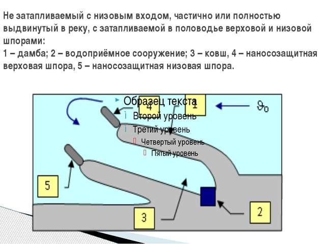 Не затапливаемый с низовым входом, частично или полностью выдвинутый в реку,...