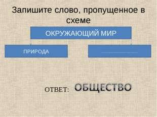 Запишите слово, пропущенное в схеме ОКРУЖАЮЩИЙ МИР ПРИРОДА ………………………. ОТВЕТ: