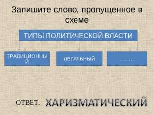 Запишите слово, пропущенное в схеме ТИПЫ ПОЛИТИЧЕСКОЙ ВЛАСТИ ТРАДИЦИОННЫЙ ЛЕГ