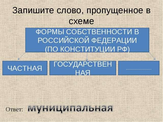Запишите слово, пропущенное в схеме ФОРМЫ СОБСТВЕННОСТИ В РОССИЙСКОЙ ФЕДЕРАЦИ...