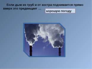 Если дым из труб и от костра поднимается прямо вверх это предвещает … хорошу