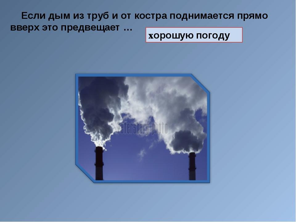 Если дым из труб и от костра поднимается прямо вверх это предвещает … хорошу...