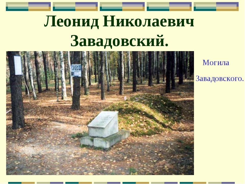 Леонид Николаевич Завадовский. Могила Завадовского.