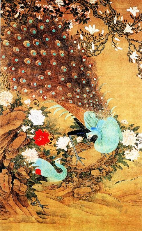 Японские картинки с павлинами - Гравюра