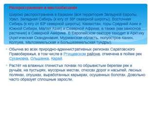 Распространение и местообитания Широко распространена в Евразии (вся территор