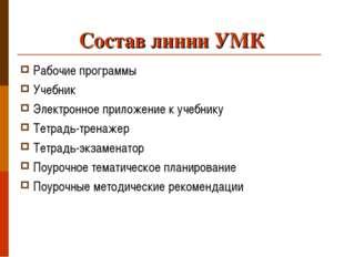 Состав линии УМК Рабочие программы Учебник Электронное приложение к учебнику