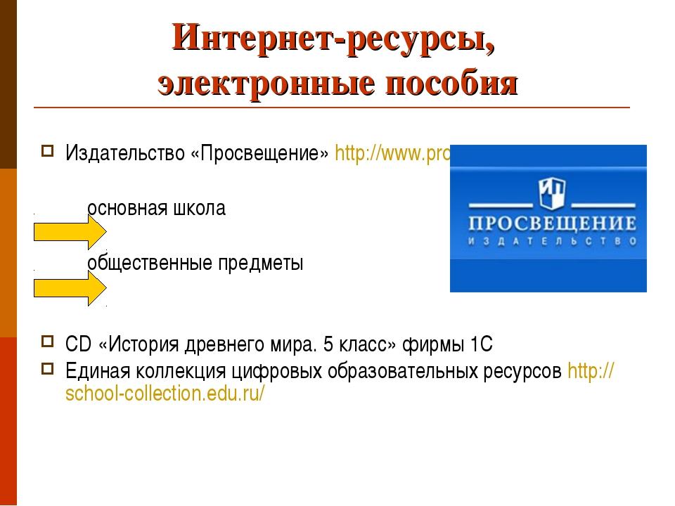 Интернет-ресурсы, электронные пособия Издательство «Просвещение» http://www.p...