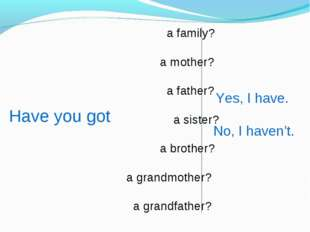 a family? a mother? a father? a sister? a brother? a grandmother? a grandfat