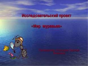 Исследовательский проект «Мир муравьев» Руководитель: Усольцева Светлана Яко