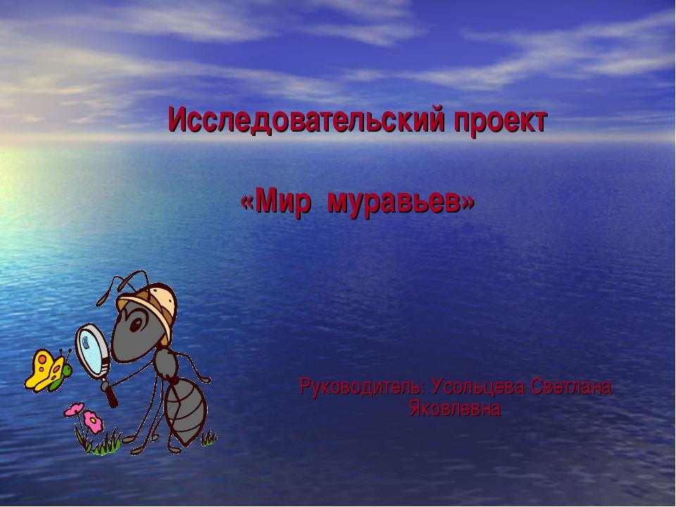 Исследовательский проект «Мир муравьев» Руководитель: Усольцева Светлана Яко...