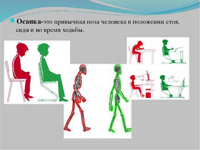 Осанка-это привычная поза человека в положении стоя, сидя и во время ходьбы.