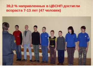 39,2 % направленных в ЦВСНП достигли возраста 7-13 лет (47 человек)