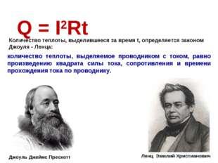 Q = I2Rt количество теплоты, выделяемое проводником с током, равно произведен