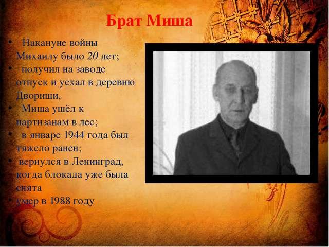 Брат Миша Накануне войны Михаилу было 20 лет; получил на заводе отпуск и уеха...