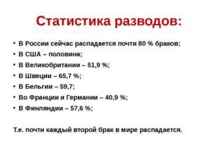 Статистика разводов: В России сейчас распадается почти 80 % браков; В США – п