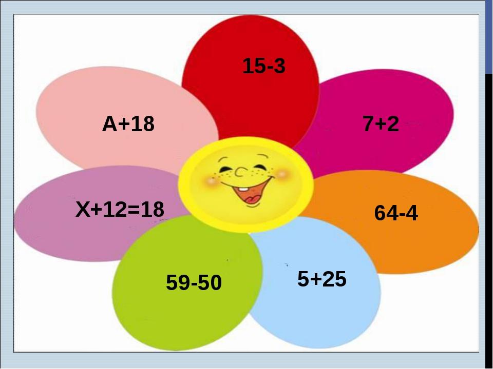 15-3 7+2 А+18 Х+12=18 59-50 5+25 64-4