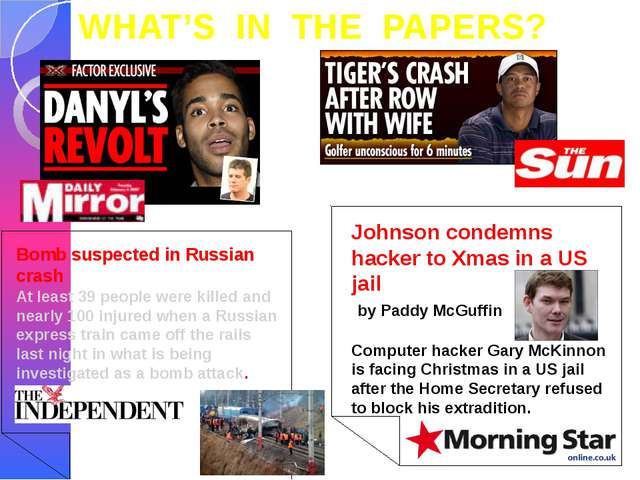 WHAT'S IN THE PAPERS? Bomb suspected in Russian crash At least 39 people were...