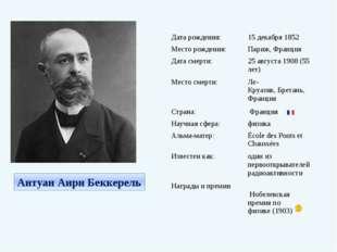 Антуан Анри Беккерель Дата рождения: 15 декабря1852 Место рождения: Париж,Ф