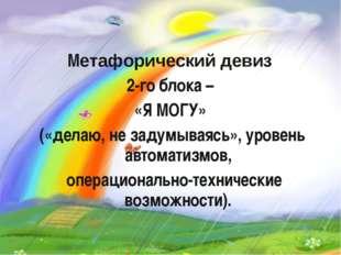 Метафорический девиз 2-го блока – «Я МОГУ» («делаю, не задумываясь», уровень