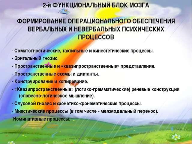 2-й ФУНКЦИОНАЛЬНЫЙ БЛОК МОЗГА ФОРМИРОВАНИЕ ОПЕРАЦИОНАЛЬНОГО ОБЕСПЕЧЕНИЯ ВЕРБА...