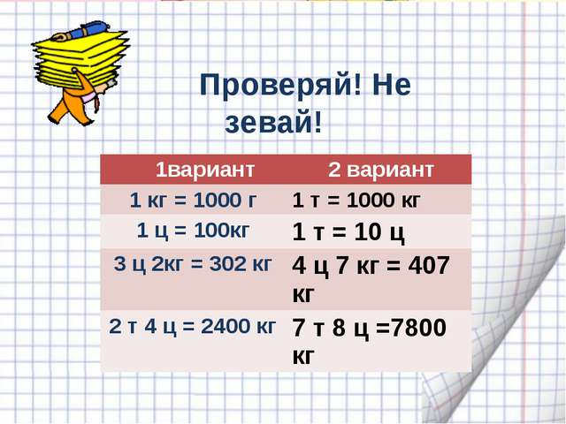Проверяй! Не зевай! 1 вариант 2 вариант 1кг = ….кг 1т = ….кг 1 ц = ….кг 1 т...