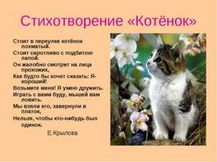 Стихотворение «Котёнок» Стоит в переулке котёнок лохматый. Стоит сиротливо с