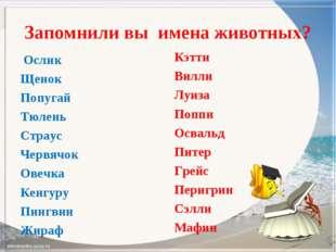Запомнили вы имена животных? Ослик Щенок Попугай Тюлень Страус Червячок Овечк
