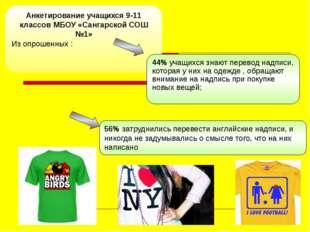 Анкетирование учащихся 9-11 классов МБОУ «Сангарской СОШ №1» Из опрошенных :