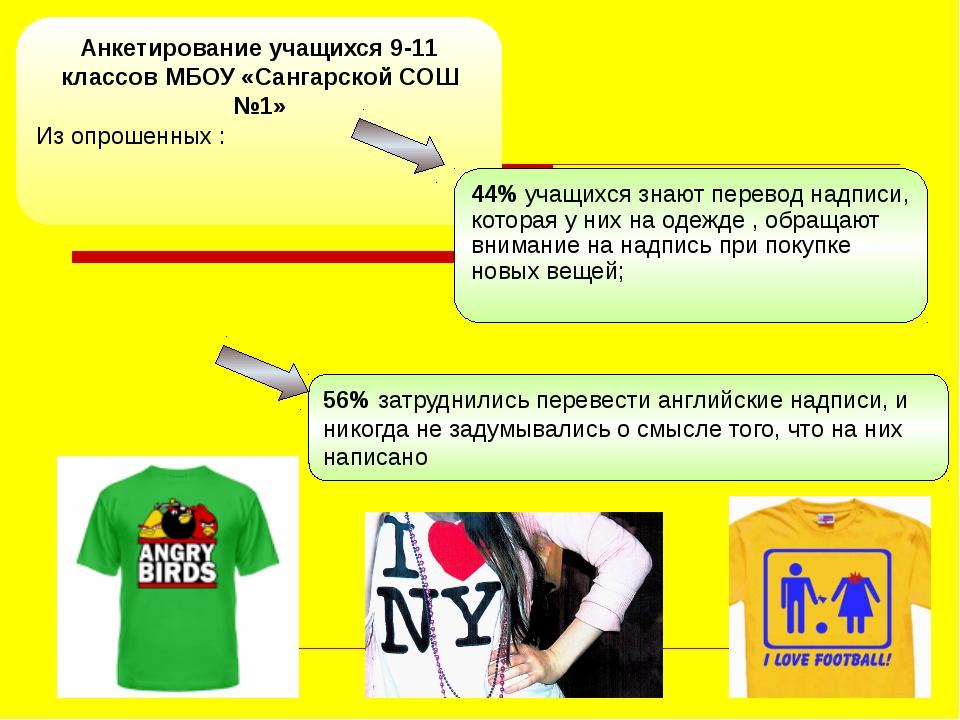 Анкетирование учащихся 9-11 классов МБОУ «Сангарской СОШ №1» Из опрошенных :...