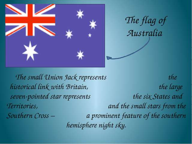 The small Union Jack represents the historical link with Britain, the large...