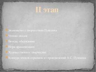 Знакомство с творчеством Пушкина Чтение сказок Беседа, обсуждение Игра-драмат