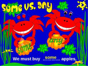 We must buy ………… apples. some