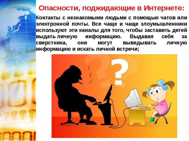 Опасности, поджидающие в Интернете: Контакты с незнакомыми людьми с помощью ч...