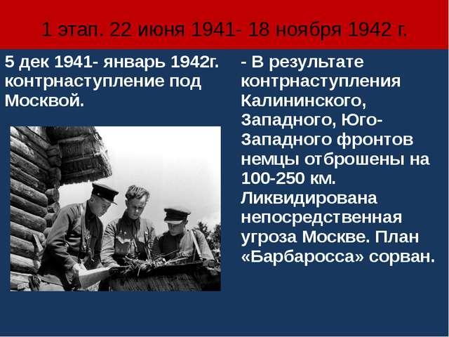 1 этап. 22 июня 1941- 18 ноября 1942 г. 5 дек1941- январь 1942г.контрнаступле...