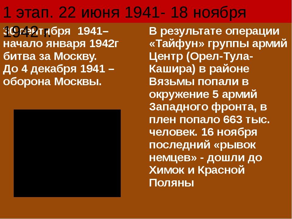 1 этап. 22 июня 1941- 18 ноября 1942 г. 30 сентября 1941– началоянваря 1942г...
