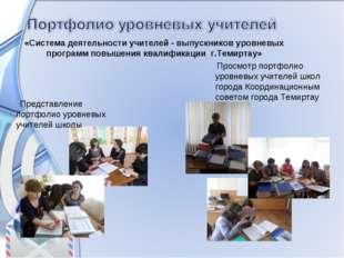 Просмотр портфолио уровневых учителей школ города Координационным советом го