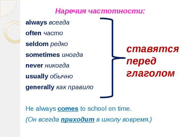 Наречия частотности: always всегда often часто seldom редко sometimes иногда...